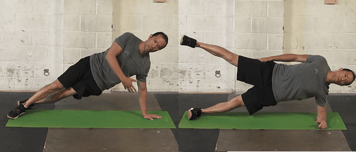 hip abductor stretches 1-leg Side Bridge Support