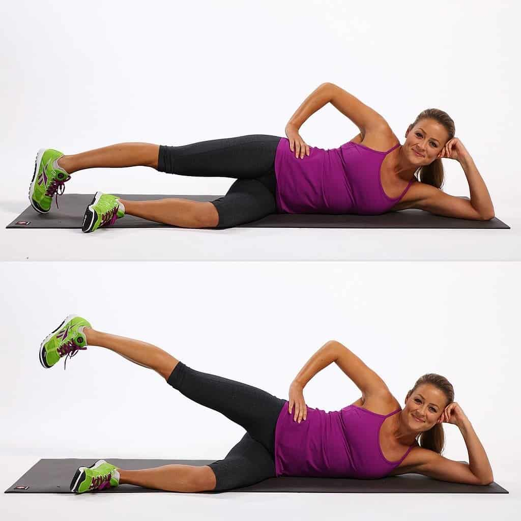 hip abductor stretches - side lying leg lift