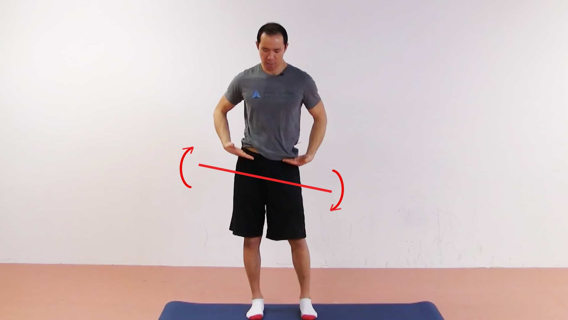 In lateral pelvic tilt, one side of the pelvis is hiked up higher than the other.