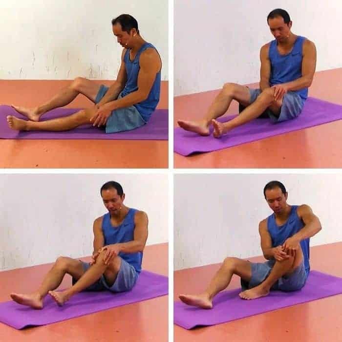Knee Cap Exercise 1 - Patellar Active Self-Myofascial Release. In this first exercise, you'll work on manually releasing the quadriceps muscle around the patella. This should help break down adhesions that can impact how the patella moves and cause knee cap pain.